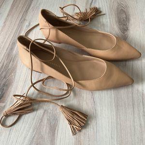 Loeffler Randall Nude Tan Ankle Tie Flats